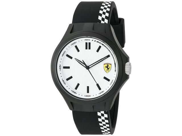 FERRARI MEN'S 45MM MULTICOLOR SILICONE BAND PLASTIC CASE QUARTZ WATCH 0830326