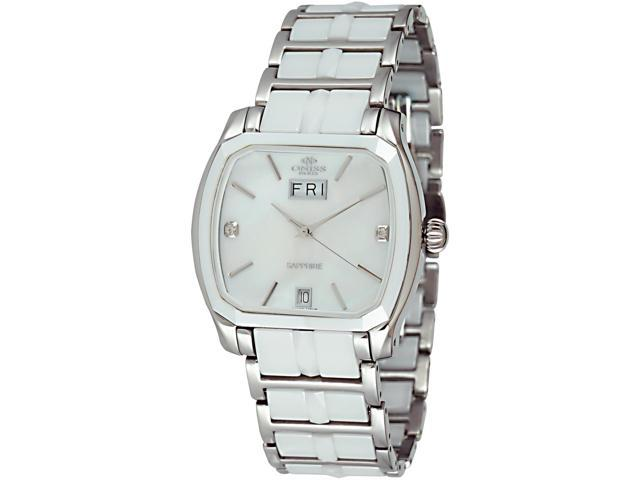 Oniss Women's Swiss SS & Ceramic Sapphire Day Date Watch ON605-L White