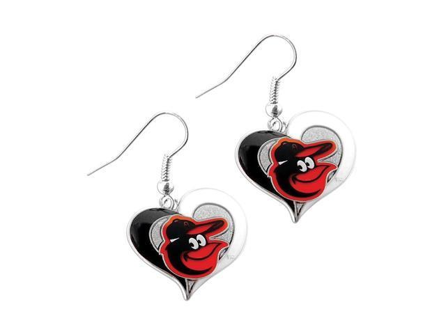 Baltimore Orioles MLB Sports Team Logo Swirl Heart Shape French Hook Style Charm Dangle Earring Set