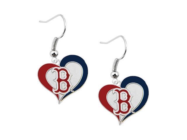 Boston Red Sox MLB Sports Team Logo Swirl Heart Shape French Hook Style Charm Dangle Earring Set