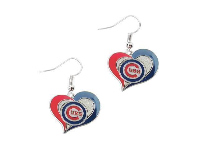 Chicago Cubs MLB Sports Team Logo Swirl Heart Shape French Hook Style Charm Dangle Earring Set