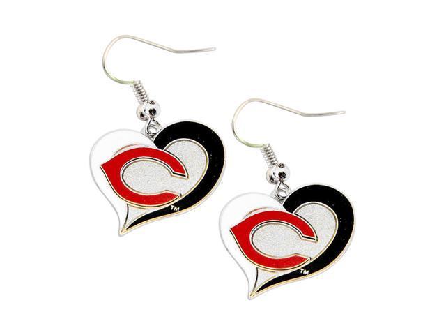 MLB Cincinnati Reds Sports Team Logo Ladies Women Girls Swirl Heart Shaped Earring Charm Gift Set