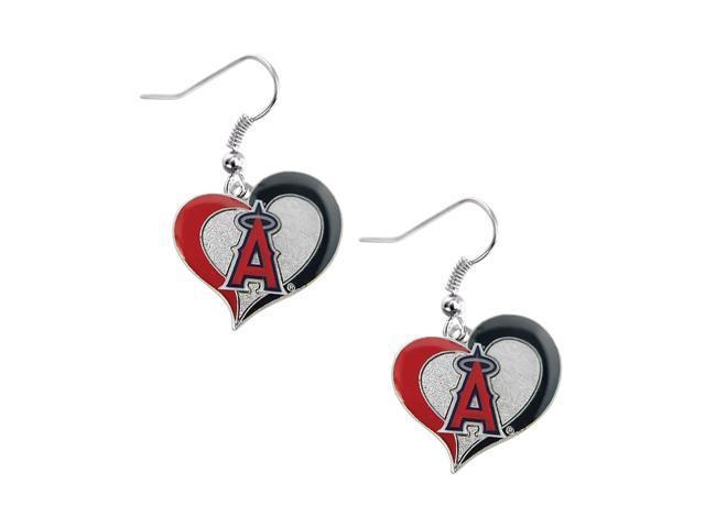 Los Angeles Angels MLB Sports Team Logo Swirl Heart Shape French Hook Charm Dangle Earring Set