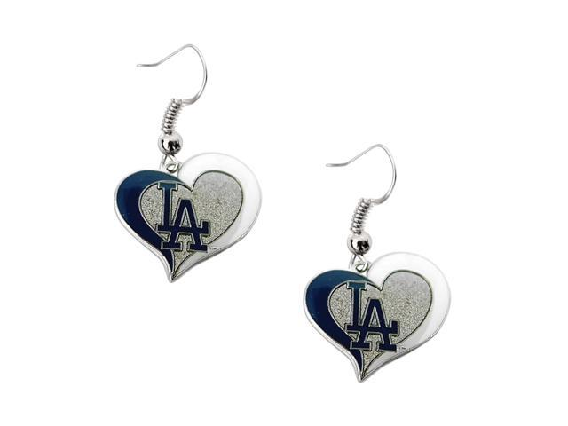 Los Angeles Dodgers MLB Sports Team Logo Swirl Heart Shape French Hook Charm Dangle Earring Set