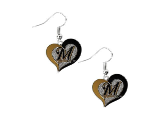 MLB Milwaukee Brewers Team Logo Swirl Heart Earring Sports Fan Gift