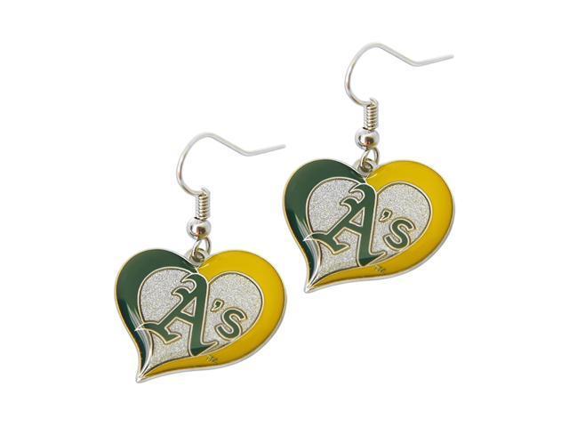MLB Oakland A's Sports Team Logo Ladies Women Girls Swirl Heart Shaped Earring Charm Gift Set