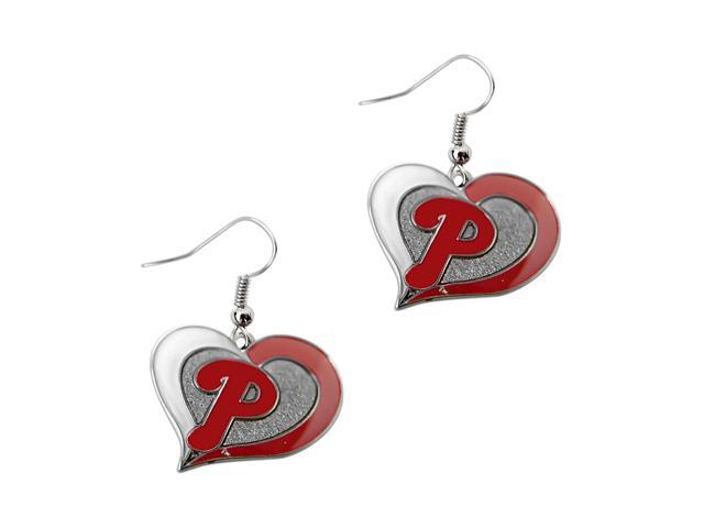 Philadelphia Phillies MLB Sports Team Logo Swirl Heart Shape French Hook Charm Dangle Earring Set
