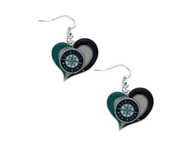 MLB Seattle Mariners Team logo Swirl Heart Dangle Earring Charm Gift Set