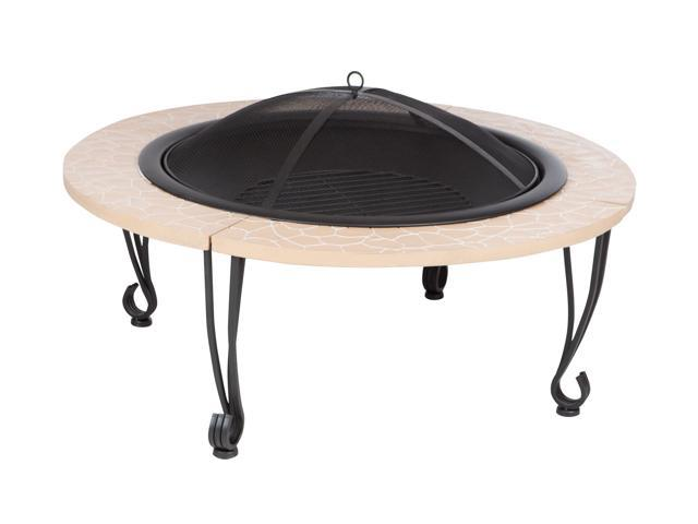 Outdoor Patio Courtyard Garden Fire Pit Cast Iron Rim Slate Stone Finish Black Porcelain Bowl With Stand