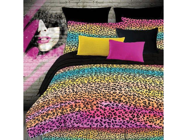 Veratex Home Bedroom Decorative Designer Rainbow Leopard Bedding Sheet Set Twin Extra Long Multi