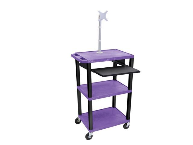 H. Wilson Mobile Computer Multimedia AV Presentation Cart Desk Black Monitor Mount Stand Front Pull Out Tray Purple