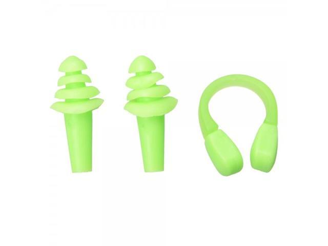 High Quality Silicone Nose Clip + Ear Plugs Set for Swimming Green