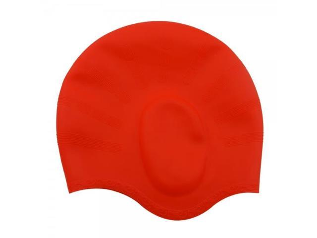 Superior High-elastic Permeable Silicone Adult Swimming Cap with Earflap Red