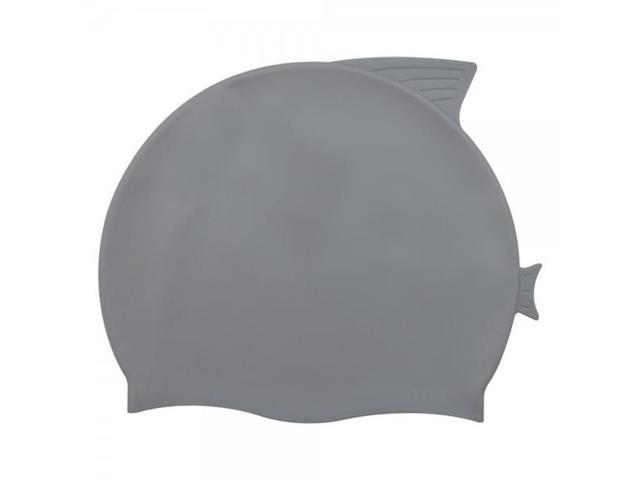 Lovely Fish Shape Silicone Children Swimming Cap Grey