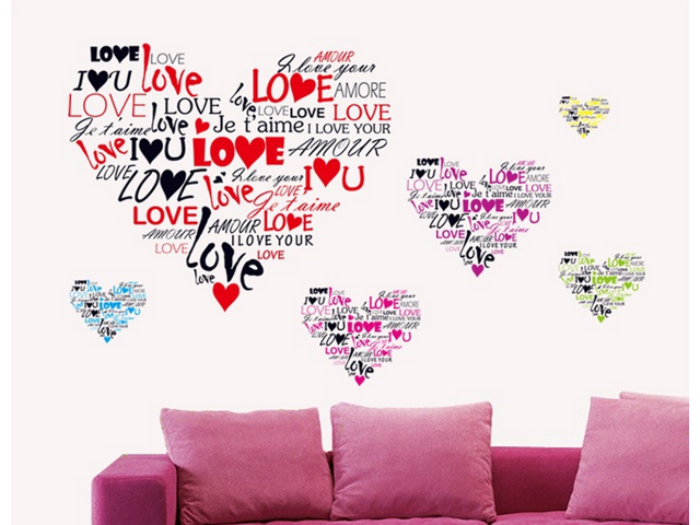 Letters alphabet wall decals stickers paper removable home for Living room 6 letters