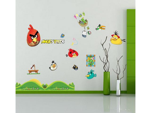 Angry birds wall stickers decals paper picture removable for Angry bird wall mural