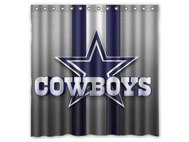 Dallas Cowboys Logo NFL Design Polyester Fabric Bath Shower Curtain 180x180  Cm Waterproof And Mildewproof Shower