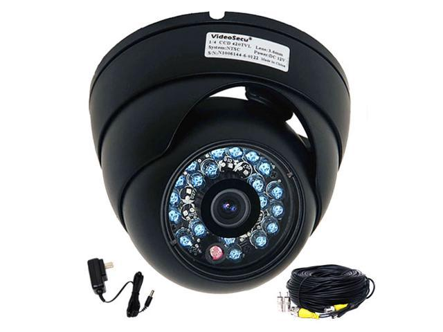 VideoSecu CCTV Surveillance Infrared Night Vision Weatherproof Outdoor Indoor Security Camera 1/3'' CCD 480TVL 3.6mm Wide Angle View with Power and Cable CF8