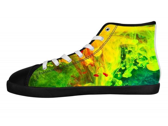 colorful paint in water black high top canvas shoes for