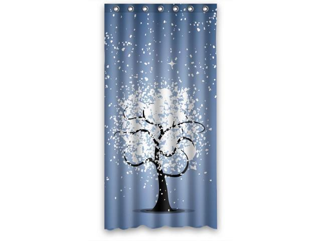 Botany Love Tree White Design Shower Curtains, Size (W*H) 36 * 72 Inch ...