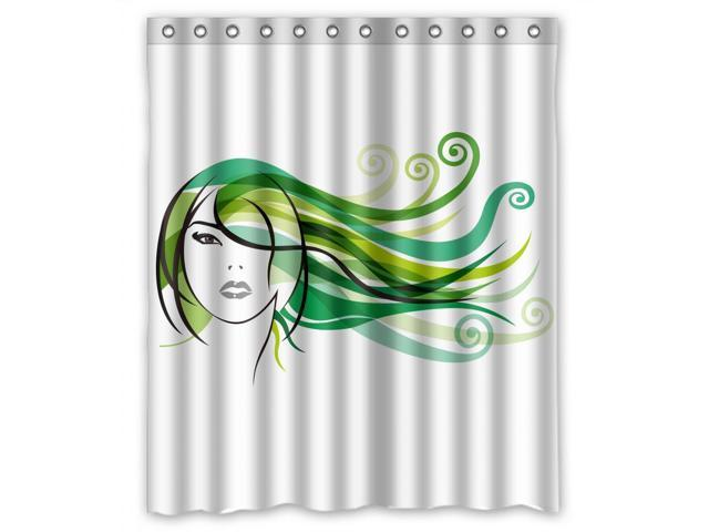 custom design cartoon green hair girl shower curtain size width height 60 72 inch 152 183. Black Bedroom Furniture Sets. Home Design Ideas