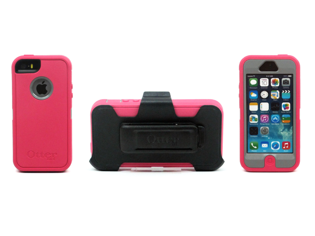 OtterBox Defender Series Case for iPhone 5 with Belt Clip - Retail Packaging - Color Grey/Peony