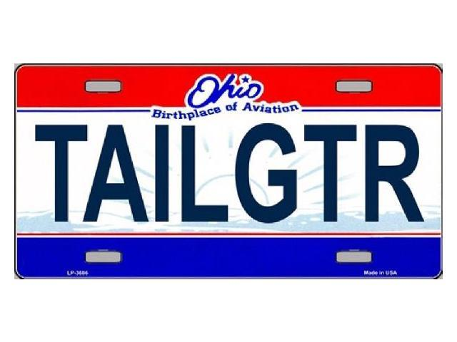 TAILGTR Ohio State State Background Aluminum License Plate - SB-LP3686