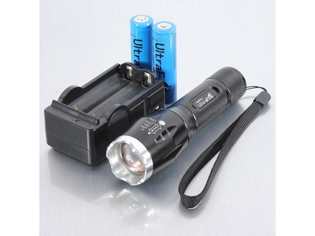 UltraFire 2200Lm  XM-L T6 LED Zoomable Flashlight Lamp Torch 18650 +Charger