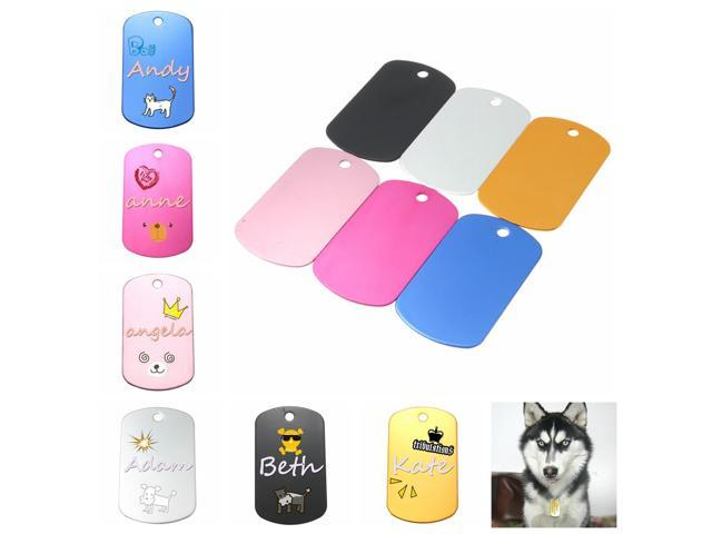 Personalized Custom Engraved Cute Double Tag Pet ID Dog Cat Military Shape Name Metal Multi-Color