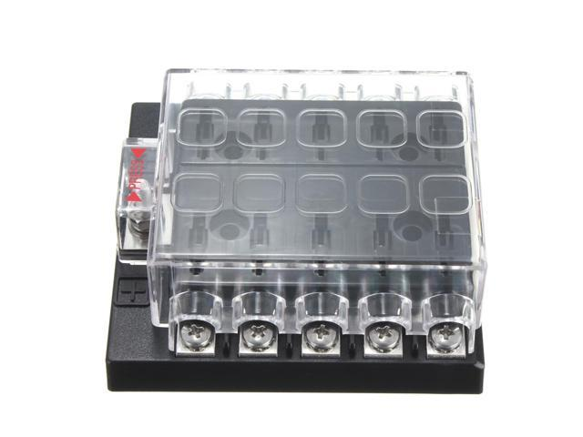 Rugged DC32V 10 Way Terminals Circuit Car Auto Blade Fuse Box Block Holder ATC ATO 10KW 98x93x40cm