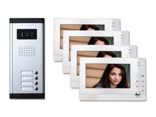 Angel POS Four 4 Units Apartment Video Intercom with Auto Visitor Photo Memory Doorbell Security