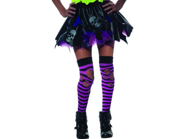Zombie Ripped Pink & Black Striped Thigh Highs Costume Hosiery Child One Size