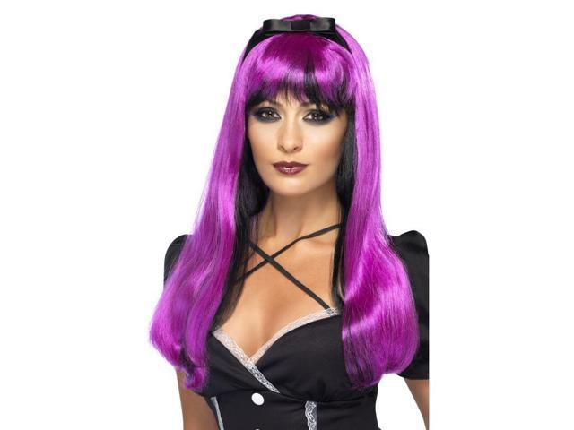 Bewitching Pink Over Black Long Costume Wig One Size