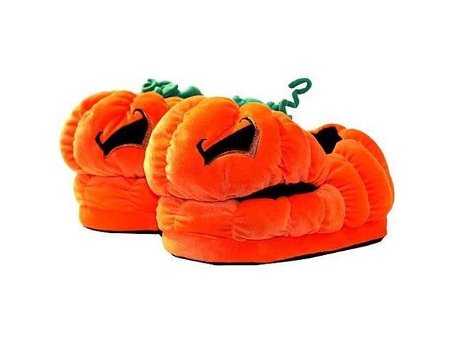 Halloween Jack O Lantern Plush Slippers