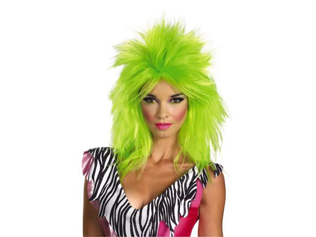 Jem & The Holograms Pizzazz Costume Wig Adult: Neon Green One Size Fits Most