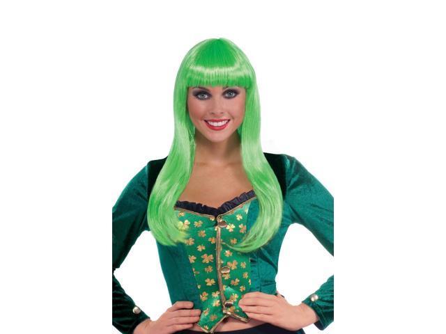 Long Neon Green Adult Female Irish Lass Costume Wig One Size