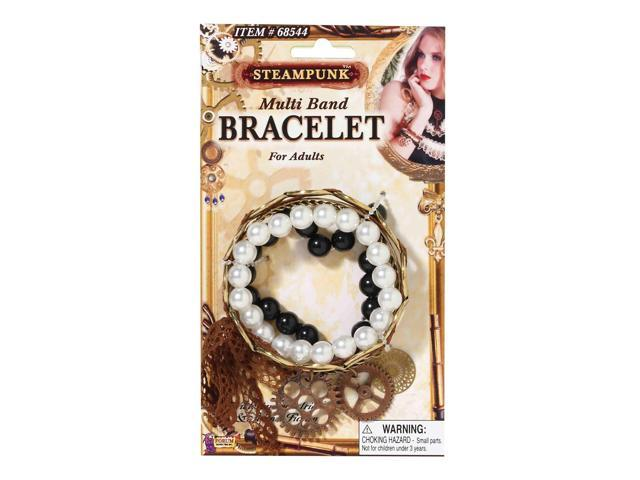 Victorian Steampunk Costume Bracelet Set With Gear Charms One Size