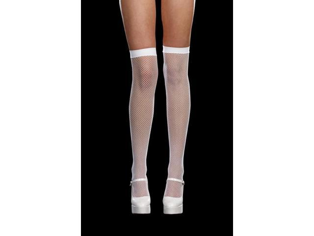 White Fishnet Thigh Highs With Back Seam Costume Hosiery Adult One Size