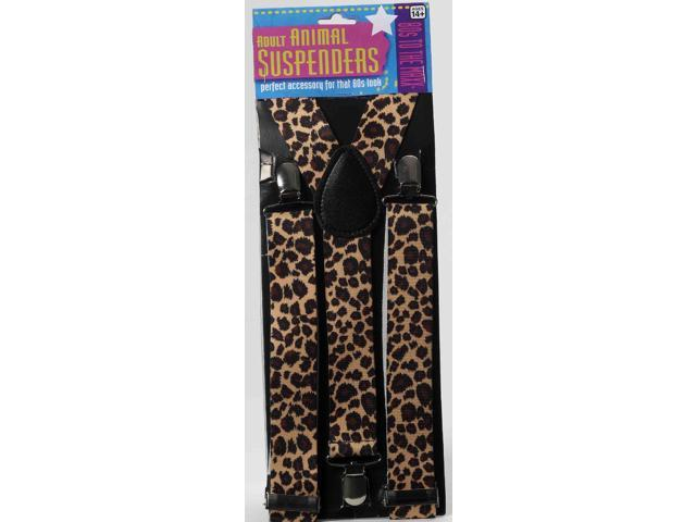 80's Leopard Print Adult Costume Suspenders One Size