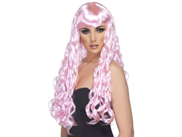 Desire Long Curly Costume Wig Adult Candy Pink One Size