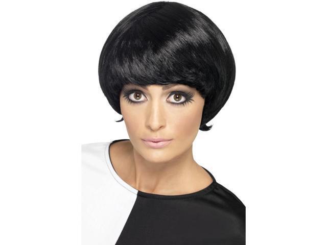 60's Short Bob Costume Wig Adult: Black One Size