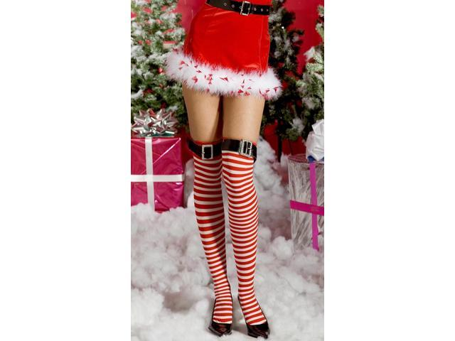 Striped Thigh Hi Nylon With Buckle Costume Hosiery One Size