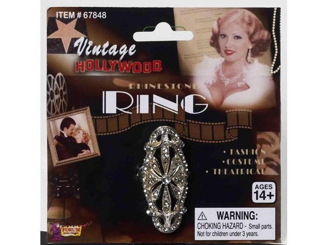 Vintage Hollywood Rhinestone Encrusted Costume Ring One Size