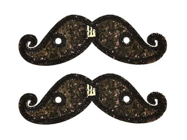 Shwings Shoe Accessories: Black Sparkle Handlebar Mustache