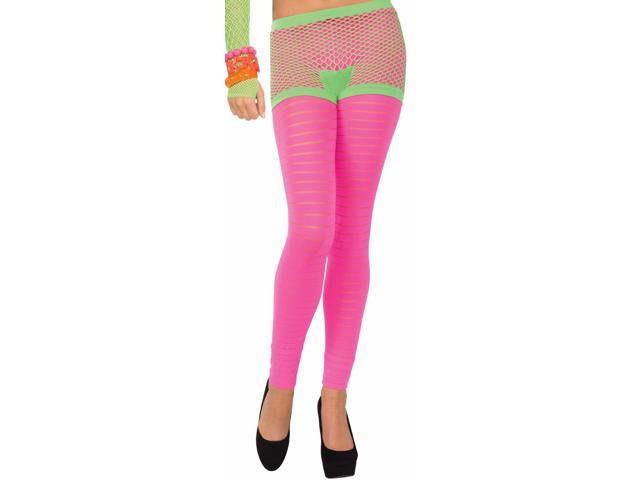 Club Candy Neon Fishnet Costume Boy Shorts Adult: Green One Size