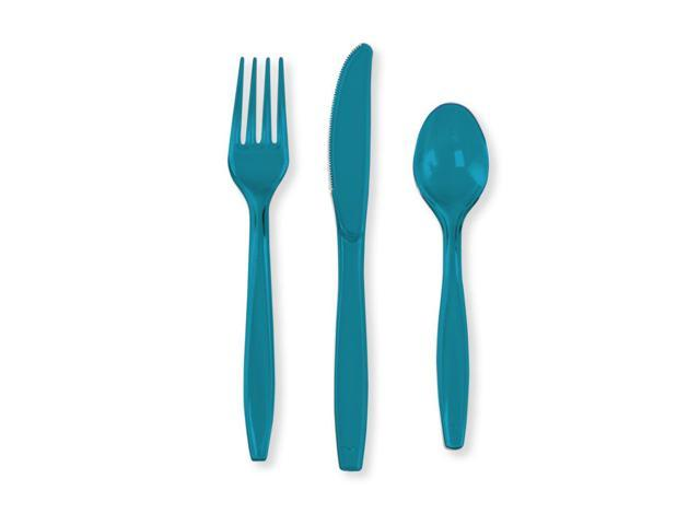 Touch Of Color Premium Cutlery Plastic Svc 8 24 Count Turquoise