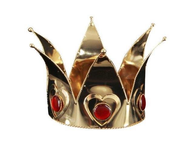 Mini Queen of Hearts Costume Accessory Crown Adult: Gold One Size