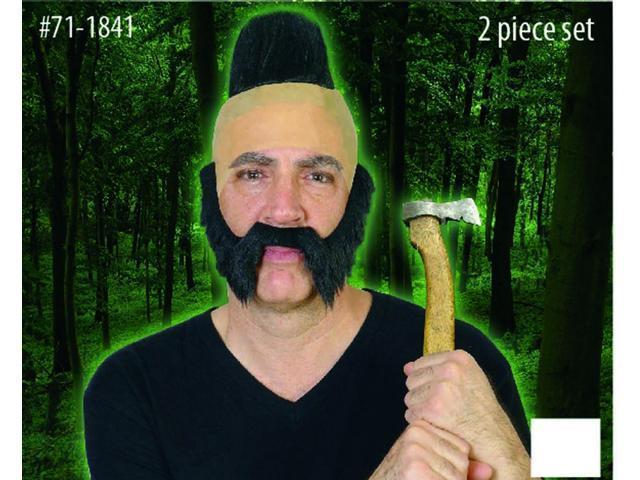 Hunter Man Black Mohawk Bald Head & Beard Costume Accessory Set One Size