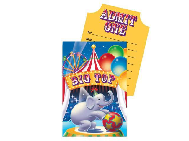 Invitation Card With Envelope 8 Pack Big Top Birthday