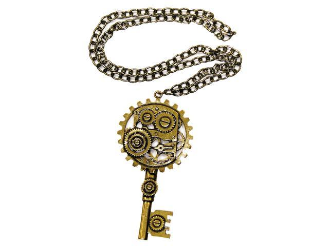 Steampunk Copper Key Gear Costume Necklace One Size